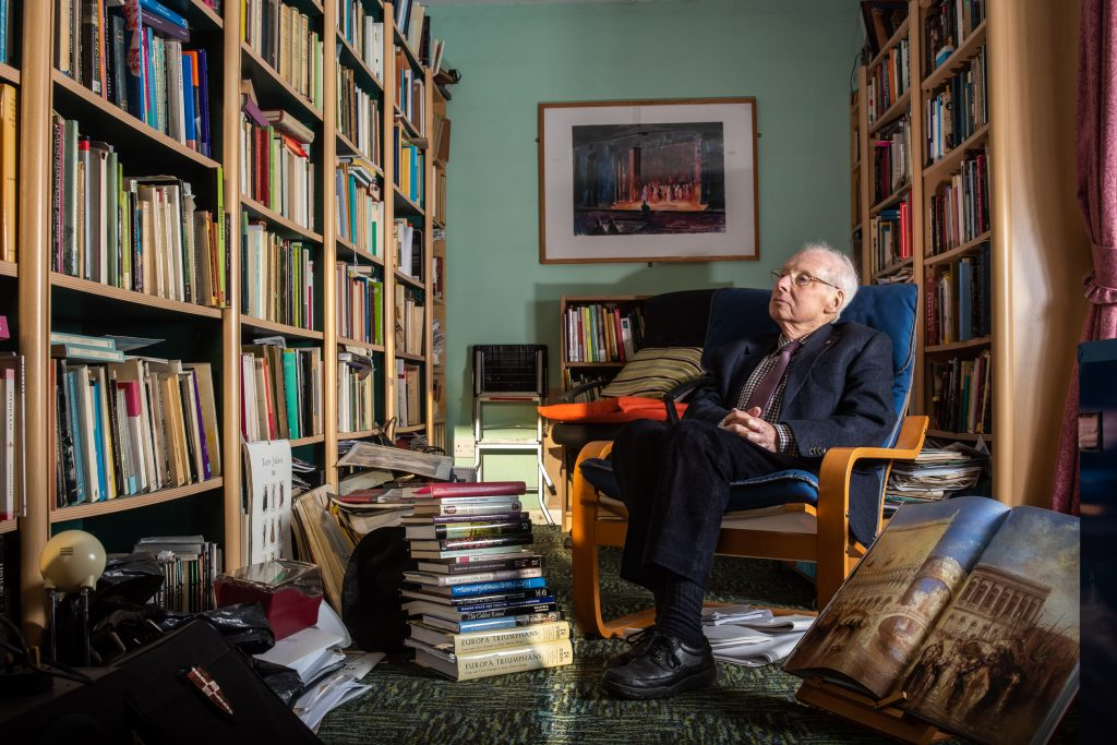 Professor Ronnie Mulryne in his study, portrait by William Mulryne.