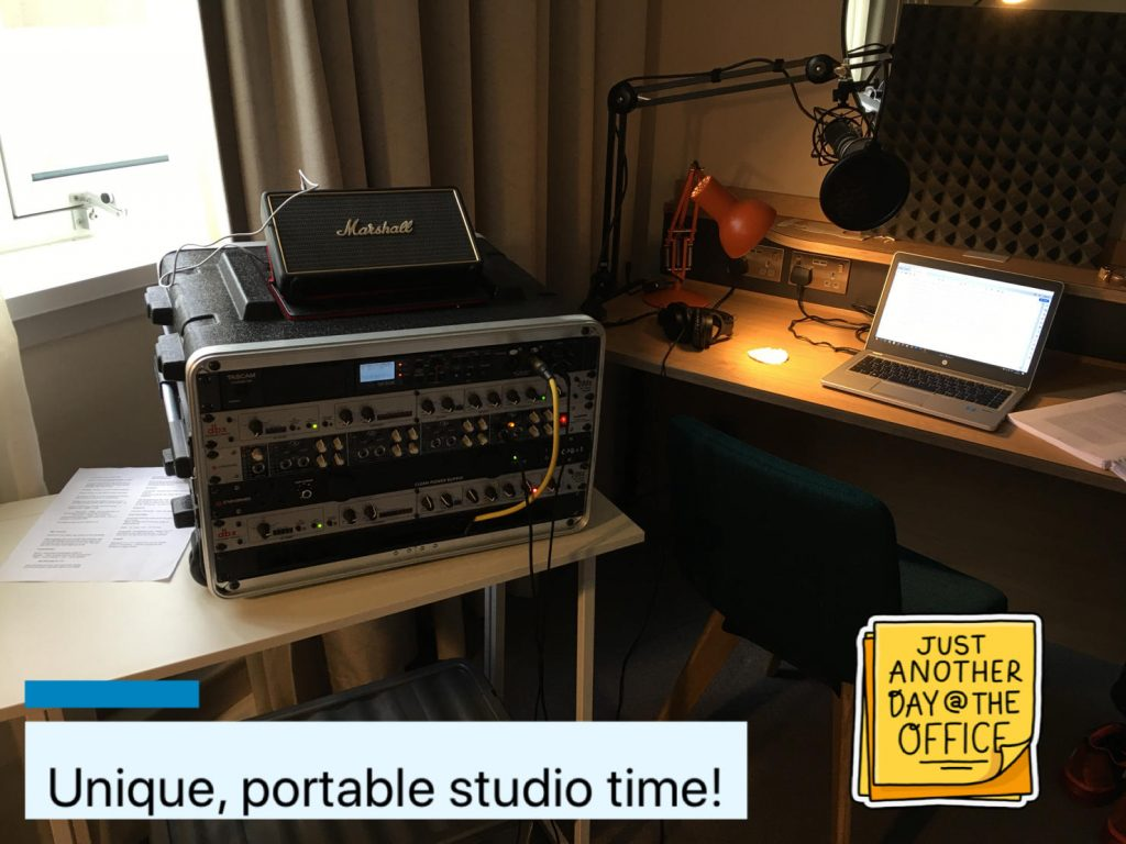 Portable Audiobook studio in an author's hotel room